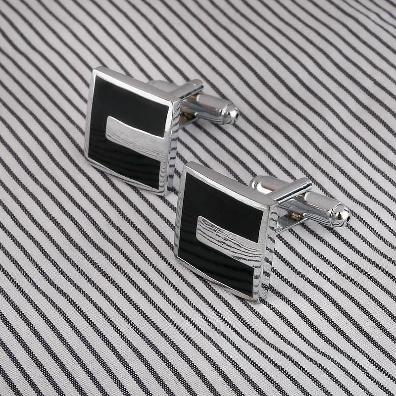 High Quality French Style Business Men Cufflinks Square Shaped Cuff Links Brass Stamping Gentalman Custom Enamel Cufflinks