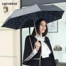 Saiveina blume dach für sonne mini sonnenschirm damen uv sonnenschirm regen frauen vintage schwarze beschichtung falten licht kleine