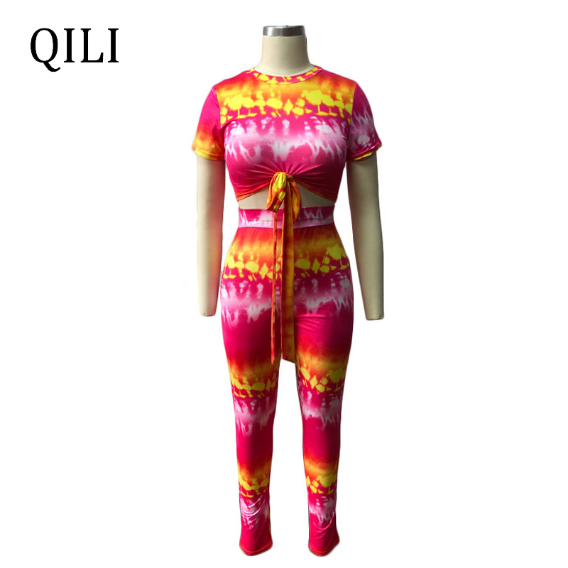 QILI Women Short Sleeve Two Piece Set Printed Jumpsuits Top Skinny Long Pants Jumpsuit Romper 2 Piece Fashion Casual Jumpsuits in Jumpsuits from Women 39 s Clothing