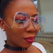 2017 Diseñador de la Marca de Moda Retro de Gran Tamaño gafas de Sol Sin Montura de Las Mujeres Oval Grande Vintage Claro Gradiente Espejo Shades gafas de sol