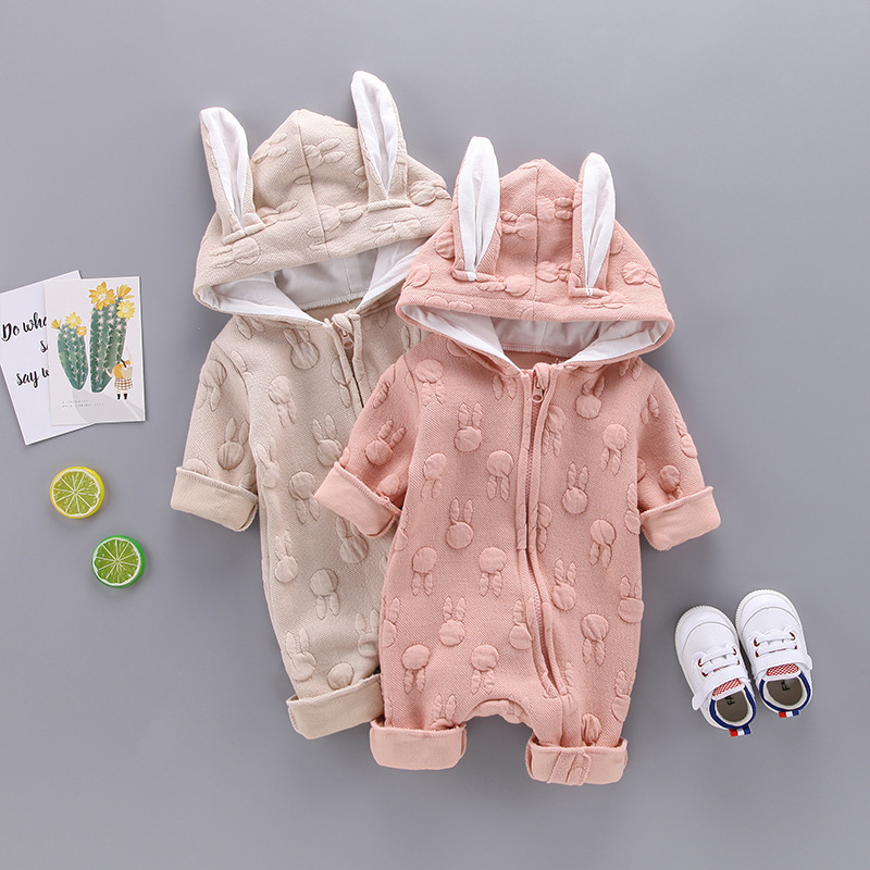 cute Infant Newborn Baby Boys Girls Long Sleeve Rabbit Ears   Romper   Jumpsuit Outfits Autumn Winter Warm Diagonal zipper Clothes