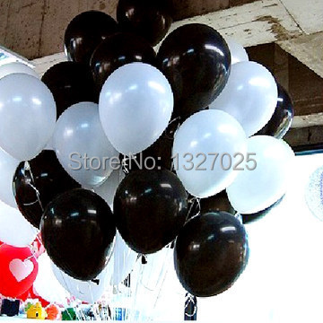 Newest 100pcs/lot 12 inch 3.2g black and white Latex baloon Wedding Party Birthd