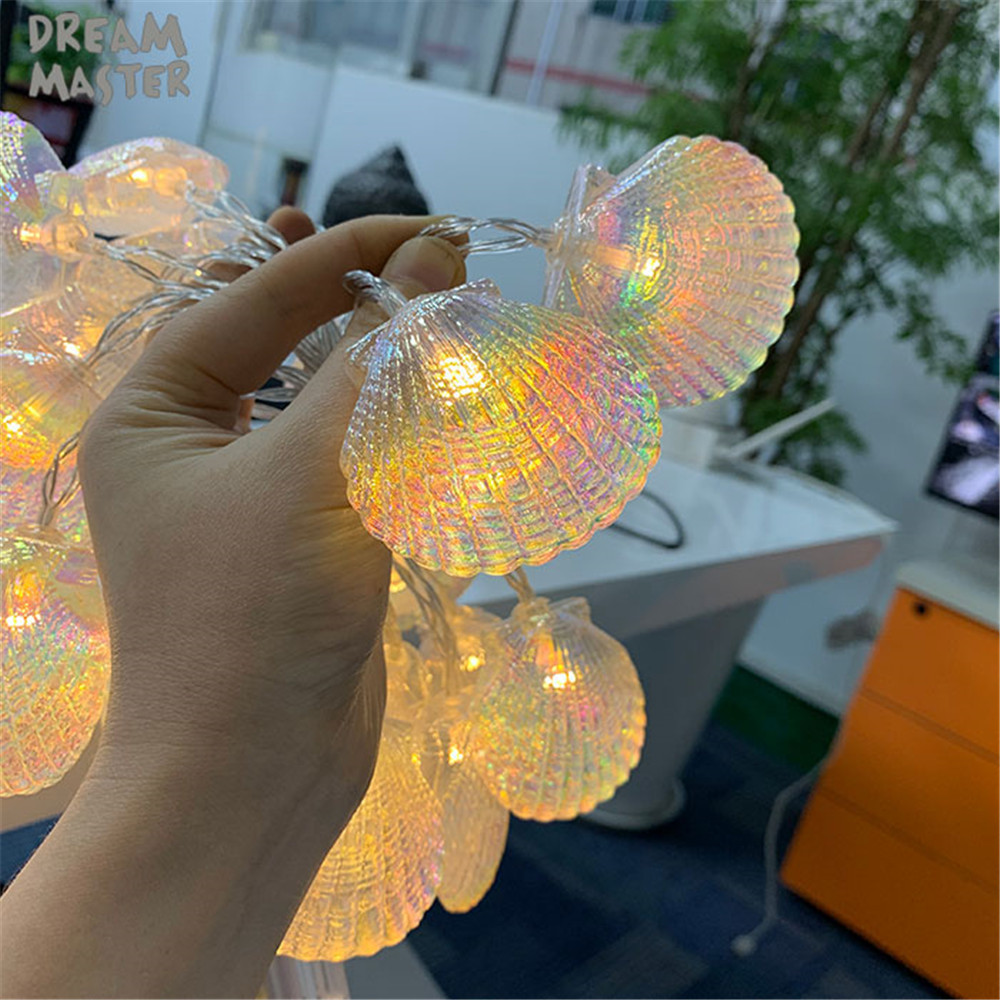 New 1M 2M 3M 4M 6M Fairy Garland LED Shell String Lights Holiday Lamp For Christmas Tree Wedding Home Indoor Decoration Battery