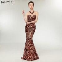 JaneVini Bling блестками Длинные платья невесты плюс Размеры Сексуальная Русалка О Шея Sheer Вернуться Для женщин Свадебная вечеринка платье длиной