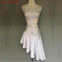 Sexy Fashion Women Latin Dance Performance Dress Women Girls Sling Diamond Dress For Ballroom Tango Dance Competition Clothing