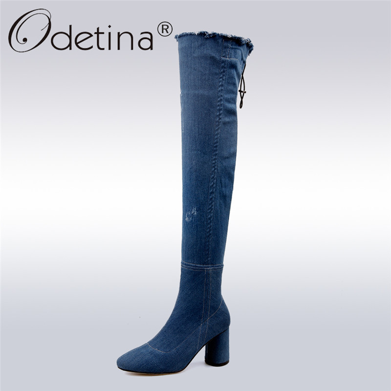 Odetina 2017 New Fashion Autumn Winter Women Thigh High Boots Blue Denim Over The Knee Boots High Block Heel Shoes Plus Size 43 lcx 2017 new fashion sweet lady shoes high thigh knee autumn winter over the knee casual women boots plus size boots for women