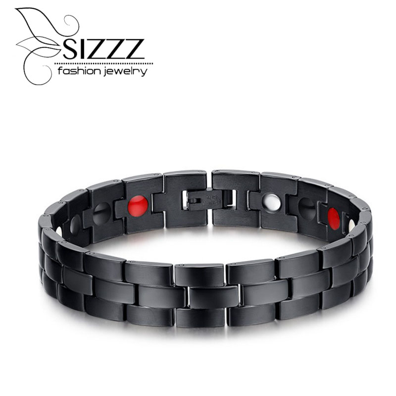 SIZZZ Blue and Black Magnetic Bracelet trend magnet titanium steel bracelet&bangles for men