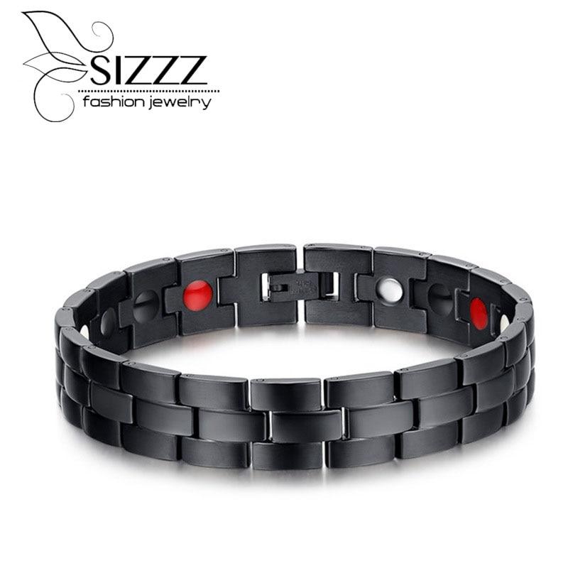 SIZZZ Blue and Black Magnetic Bracelet trend magnet titanium steel bracelet&bangles for men