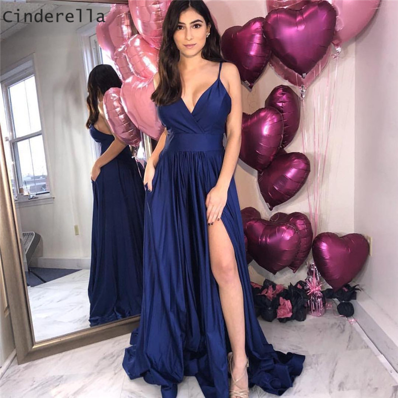 Cinderella Navy Blue V-Neck Spaghetti Straps Side Slit A-Line Backless Silk Satin   Prom     Dresses   Open Back Party Gowns For   Prom