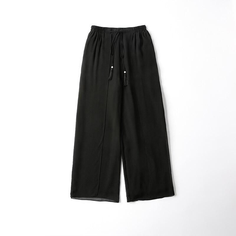 100% seda cintura alta doble capa pantalones de color sólido Casual alta cintura pierna ancha pantalones de verano de las mujeres-in Pantalones y pantalones pirata from Ropa de mujer    3