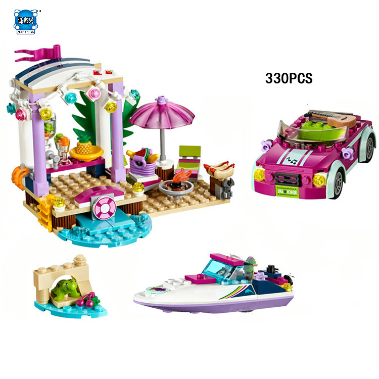 2017 My Good Friends Girls Club Andrea Speedboat Transporter Building Block Emma Figures Bricks Lepins Toys for Kids Gifts hot city series aviation private aircraft lepins building block crew passenger figures airplane cars bricks toys for kids gifts
