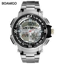 BOAMIGO mens sport digital watch waterproof Stainless Steel Multiple Time Zone double display wristwatch Reloj de hombre new все цены
