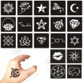 100pcs Small Glitter Tattoo Stencil Woman Female Kids Cute Drawing Templates,Cat Flower Letter Airbrush Henna Tattoo Stencils