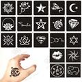 100pcs Small Glitter Tattoo Stencil Woman Female Kids Cute Drawing Templates,Cat Flower Letter Airbrush Henna Tattoo Stencils
