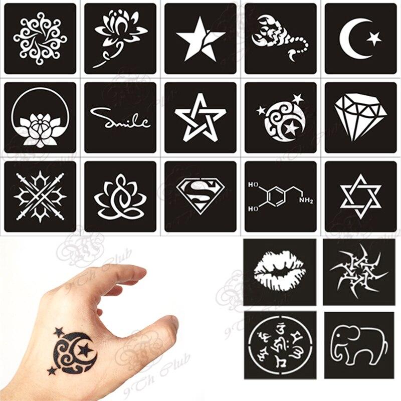 100pcs small glitter tattoo stencil woman female kids cute drawing templatescat flower letter airbrush henna tattoo stencils