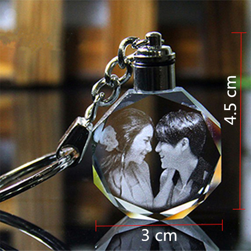 XINTOU Okrągłe LED Dostosowane Mini Brelok DIY Foto Laserowe - Wystrój domu - Zdjęcie 5