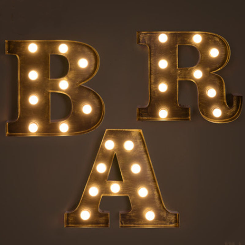Retro Iron Lamps Creative Bar Backdrop Decorative LED Letter Light Billboard logo Wall lamp Wall Decoration Light Fixture