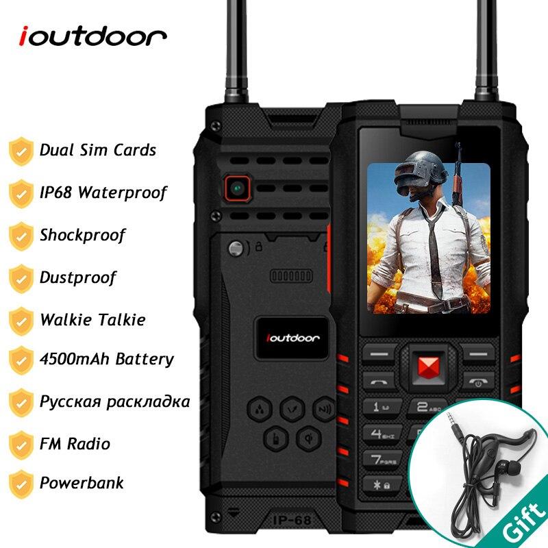 Ioutdoor T2 IP68 À Prova D' Água À Prova de Choque Robusto Telefone Walkie Talkie Lanterna Banco Do Poder 4500mAh Do Telefone Móvel Teclado Russo