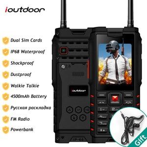 Image 1 - Ioutdoor T2 IP68 impermeable a prueba de golpes resistente para teléfono Walkie Talkie banco de energía para teléfono móvil linterna 4500mAh teclado ruso