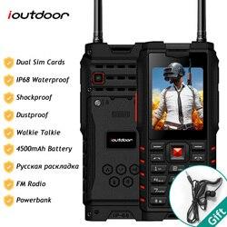 Ioutdoor t2 ip68 impermeável à prova de choque robusto telefone walkie talkie telefone móvel power bank lanterna 4500 mah teclado russo
