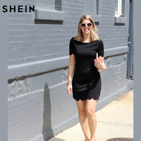 SHEIN Ladies Black Scalloped Hem Keyhole Dresses New Arrival Casual Summer Style Womens Straight Mini Dress
