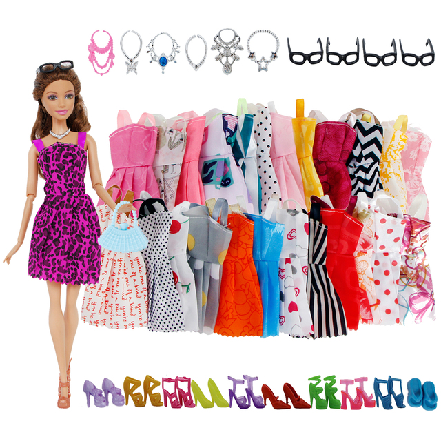 32 Item/Set Doll Accessories=10 Mix Fashion Cute Dress+ 4 Glasses+ 6 Necklaces+2 Handbag+ 10 Shoes For Barbie Doll 3