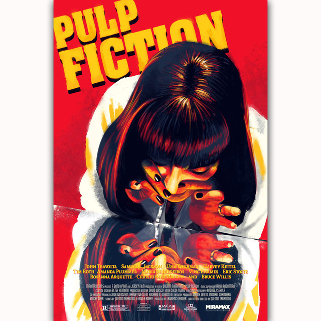 MQ1559 Pulp Fiction Classic Movie Uma Thurman Vintage Film Hot Art Poster Top Silk Light Canvas