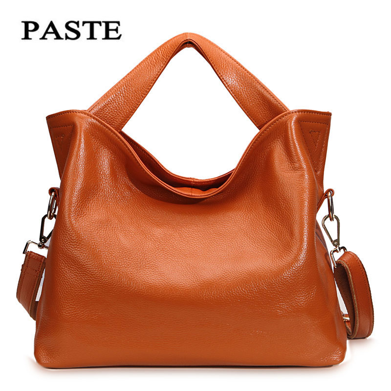 Women s Genuine Leather Bags Paste 2017 Europe style Fashion Cowskin Handbags Lady Casual shoulder Bag