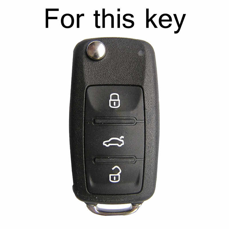 Misima Silikon Araba Anahtarı Durum Için VW POLO Bora Beetle Tiguan Passat Golf Jetta Eos SKODA Fabia Octavia Için Uzaktan fob Shell Kapak