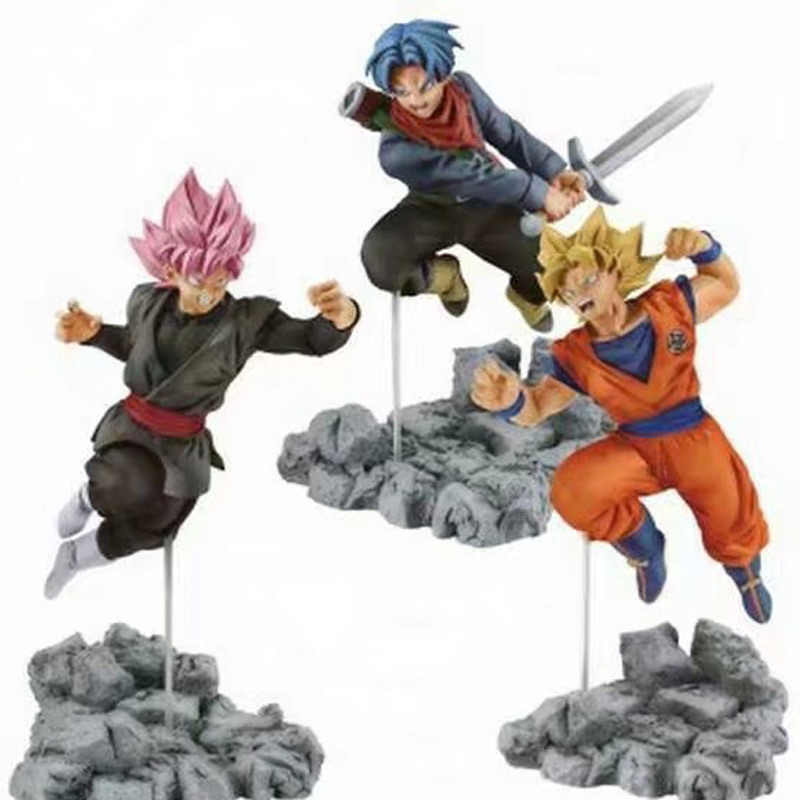 12-13cm 3 Types Anime Dragon Ball Z Super Soul X Soul Son Goku Trunks Black Goku PVC Figures Model Toys
