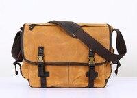 Nesitu High Quality Waterproof Army Green Grey Coffee Yellow Vintage Canvas 14'' Laptop Cross Body Women Men Messenger Bag M5355