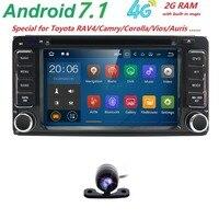Android 7.1 Odtwarzacz DVD Dla Toyota Uniwersalny RAV4 COROLLA VIOS HILUX Terios Land Cruiser 100 PRADO 4 KANAŁÓW DVR Bluetooth z tyłu cam