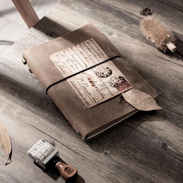 Блокнот для путешествий из воловьей кожи tn, серый блокнот из натуральной кожи, винтажный планер, персональный дневник в горошек, Обложка для книг