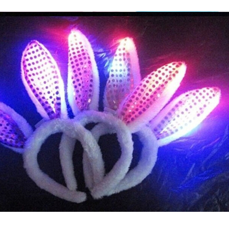 12pcs lot Led Clips For Hair Light Flashing Headwear Decoration Halloween  Headband For Girls Bunny Ears Hoop Party Supplies -in Glow Party Supplies  from ... 85b947271349