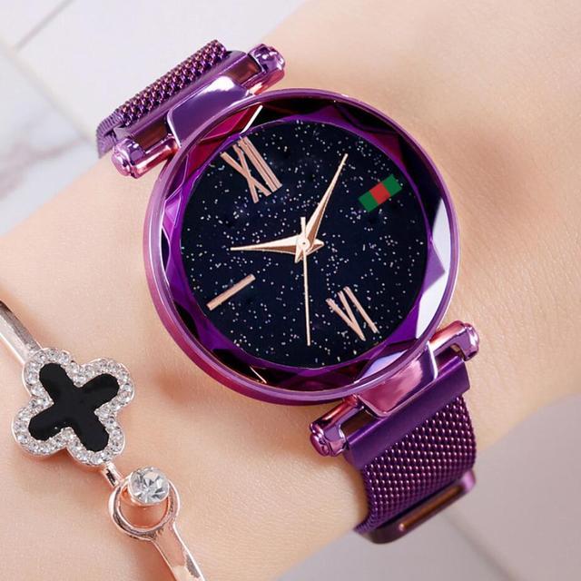 82811aaa2fb 2019 Nova Marca Ouro Rosado Malha Ímã Céu Estrelado Relógio De Quartzo Das Mulheres  Relógios Casuais Relogio feminino Senhoras Relógio de Pulso Quente venda