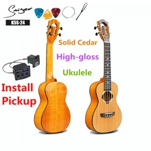 Ukulele 24 Inch Solid Cedar Mini Electric Concert Acoustic Guitar 4 Strings Ukelele Guitarra Install Pickup Highgloss Wood Color цена 2017