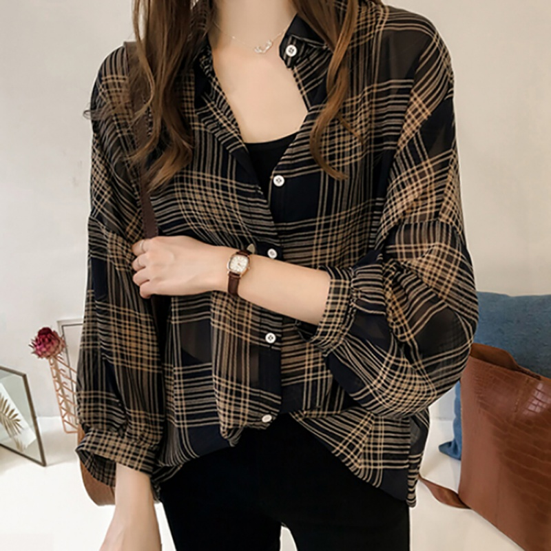 2019 Spring Plaid Shirts Women Batwing Sleeve Chiffon Blouses Casual Chemise Femme Tops Plus Size Tartan Blusas Mujer M-4XL