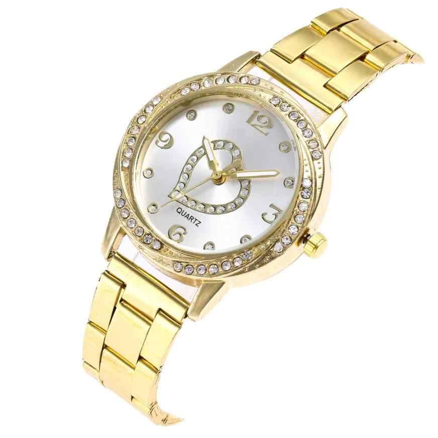 Różowe złoto Sliver pasek ze stali nierdzewnej kwarcowy zegarek kobiety zegar Wrist watch Analog quartz Round women zegarki 2018