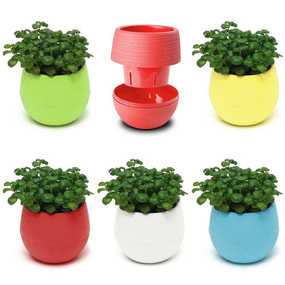 Colorful Decorative Flower Pots Gloss Plastic Plant Planter Saucer ...