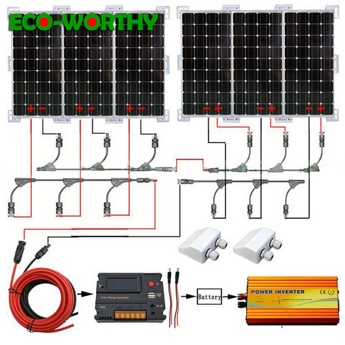 ECO 600W solar panel system 6pcs 100W Mono 18V solar panel with 20A controller 24 110V