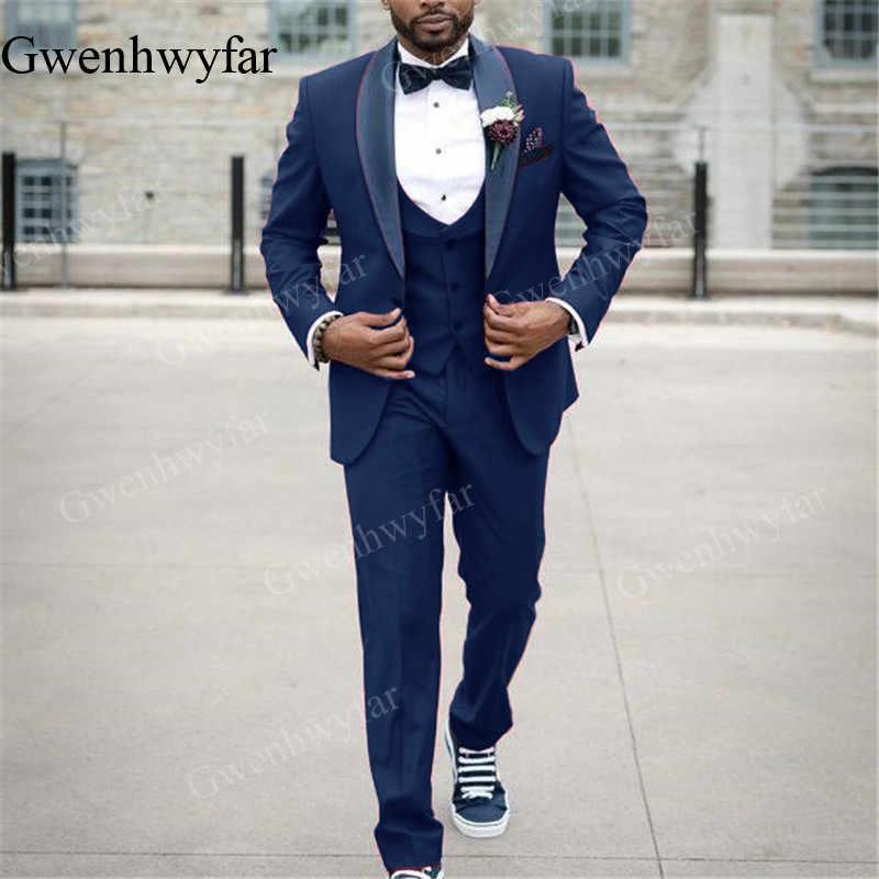 Gwenhwyfar 2019 Novo Italiano Rosa Quente Dos Homens Ternos Slim Fit Formal Vestido de Smoking Do Noivo Baile Masculino Casaco 3 Peças Jaqueta + calça + Colete