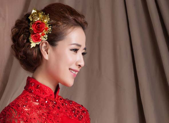 3 Piece Set Hair Crownpiece Vintage Hair Accessory Set Bride Wedding  Hanfu Costume Xiu He Fu Wedding Use Hair Jewelry 00009 red gold bride wedding hair tiaras ancient chinese empress hair piece