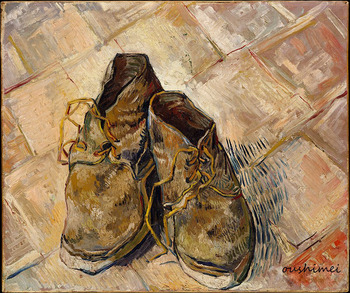 Hand-painted Still Life Oil Painting on Canvas Handmade Wall Artwork Paintings a Pair of Old Shoes Kids Gift for Home Decortion
