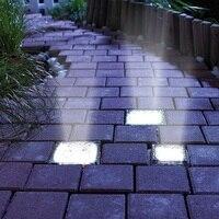 מכירה צורת לבני קרח זכוכית קריסטל קרקע Solar Power LED עמיד למים חיצוני חצר גן אור מנורת כביש סיפון