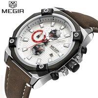 MEGIR Watches Men Top Brand Luxury Fashion Sport Watch Man Leather Chronograph Quartz Watch Waterpoof Clock