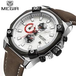 MEGIR Watches Men Top Brand Luxury Fashion Sport Watch Man Leather Chronograph Quartz Watch Waterpoof Clock relogio masculino