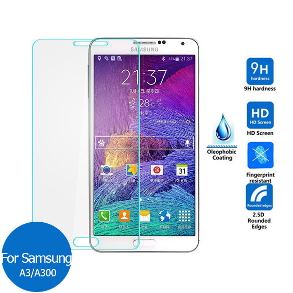 2PCS For <font><b>Samsung</b></font> <font><b>Galaxy</b></font> <font><b>A3</b></font> <font><b>2015</b></font> Tempered <font><b>glass</b></font> screen protector 9h Safety Protection Film on A 3 300F SM A300 A300F SM-A300F image