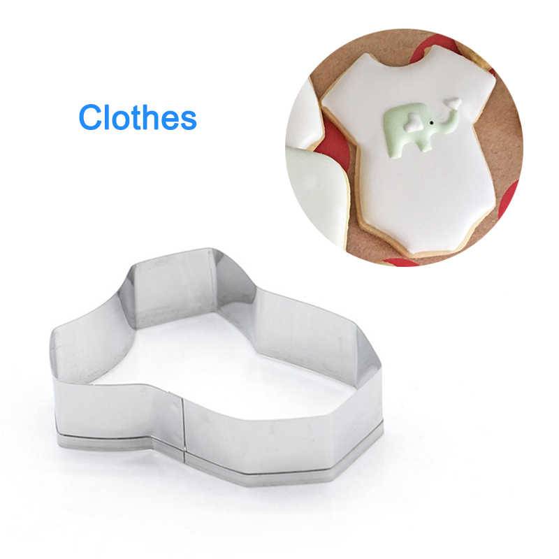 Stainless Steel Cookie Cutter Fondant Molds Baby Bottle Bib Cloth Shape Baking Supplies QP2