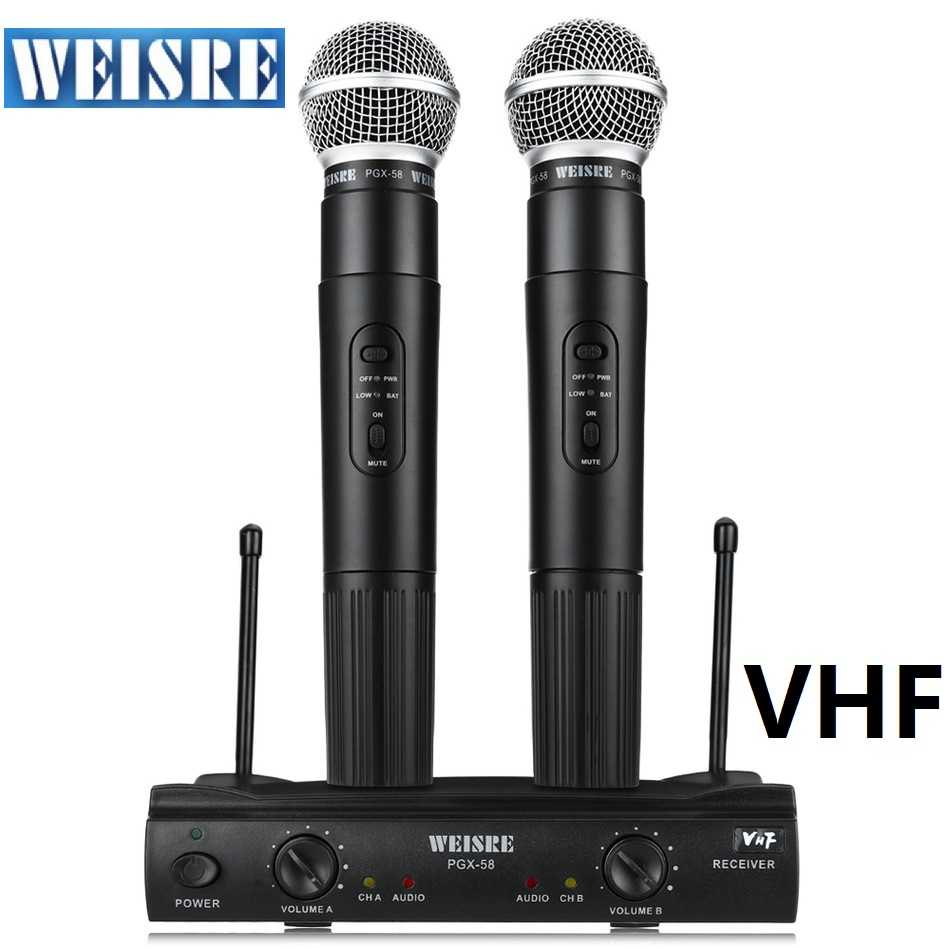 Professional WEISRE PGX58 Dual Omni-directional Wireless Microphone system  Mic For VHF Not UHF Condenser Micro phone professional directional stereo microphone 1 x cr2