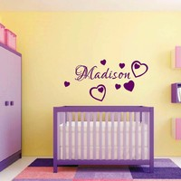T07028 Baby Nursery Room Wall Art Decor Custom Baby Girls Name Wall Decal With Heart Sticker